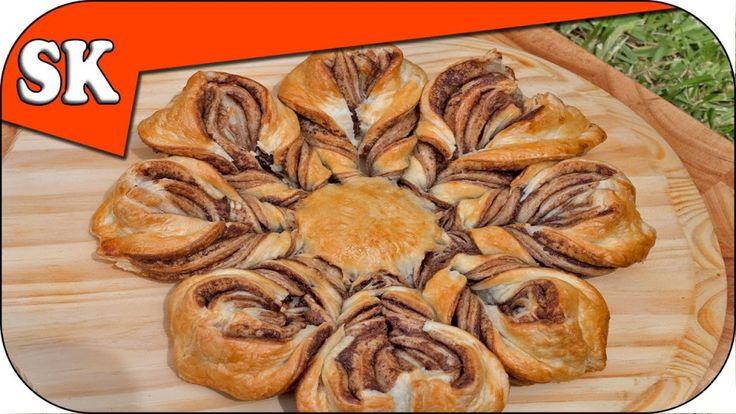 Easy Nutella Star Bread - My Braided Flower Bread but Even Easier :http://steves-kitchen.com/easy-nutella-star-bread/