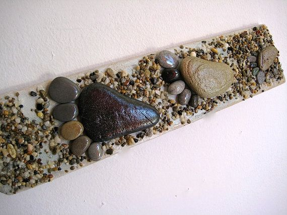 Pebble Art Pebble Feet Driftwood Art Reclaimed by CreteDriftwood