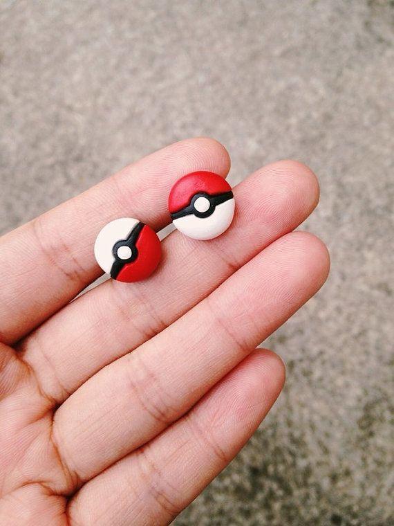 Pokemon Pokeball Earrings Nintendo Red/White Handmade Polymer Clay 3D Geek Gamer Gift her Woman Cute Girl Sale by spektrodesign. Explore more products on http://spektrodesign.etsy.com