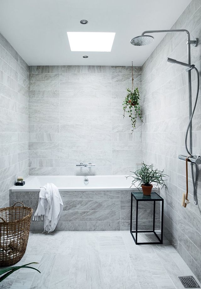 Like these tiles. Consider for shower over bath layout if family bathroom space is tight.