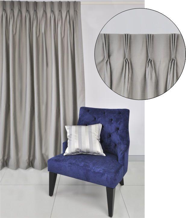 Triple three finger French pinch pleat curtain header