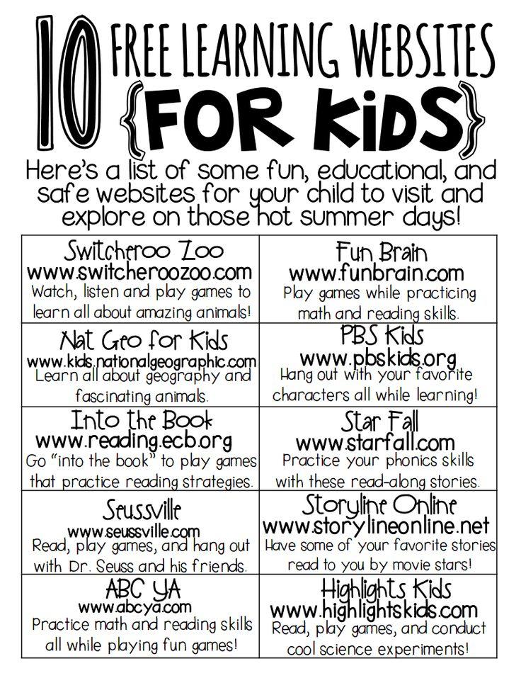 Learning websites for kids