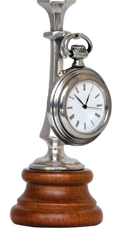 Porta orologio da tasca cm h 13 (Peltro / Britannia Metal, Legno) - collezione: Combo. Cosi Tabellini.