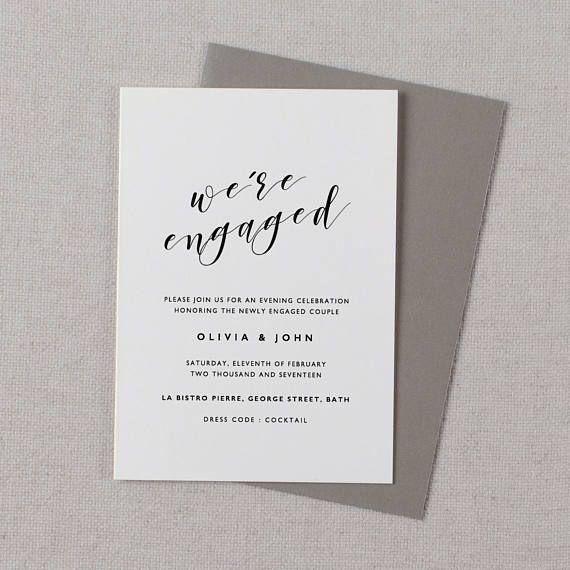 Engagement Invitation Printable Engagement Announcement