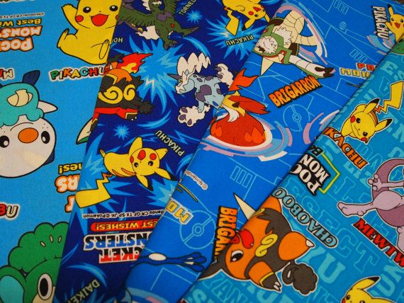 Pokemon  fabric small set 4 of 9.8 inches x 11.8 by HanamiBoutique, $7.90