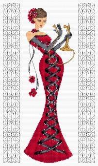 point de croix femme en robe desoirée rouge - cross stitch woman in a red dress