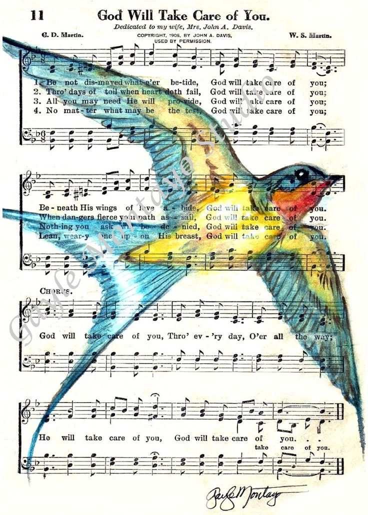 Barn Swallow Spirtual Song Page  5 x 7 God Will Take Care Of You Bird. $9.95, via Etsy.