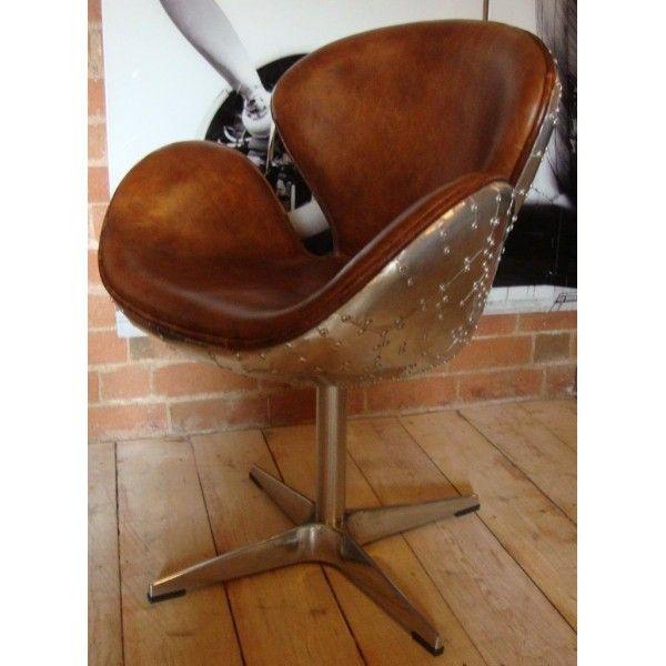 Leather and Aluminium desk chair, aviator style £699.99