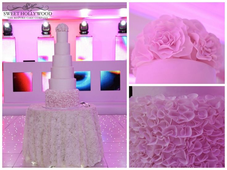 Pretty In Pink Luxury Wedding Cake InterContinental London Park Lane Delicate Hand Made Ruffles