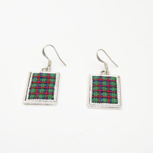 Flower of Scotland Tartan Cross Stitch Earrings Scottish Jewellery £15.00