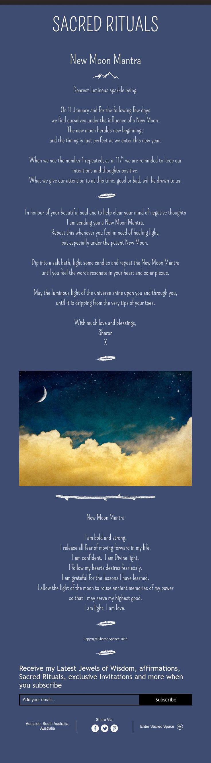 Moon:  Sacred Rituals ~ #New #Moon Mantra.