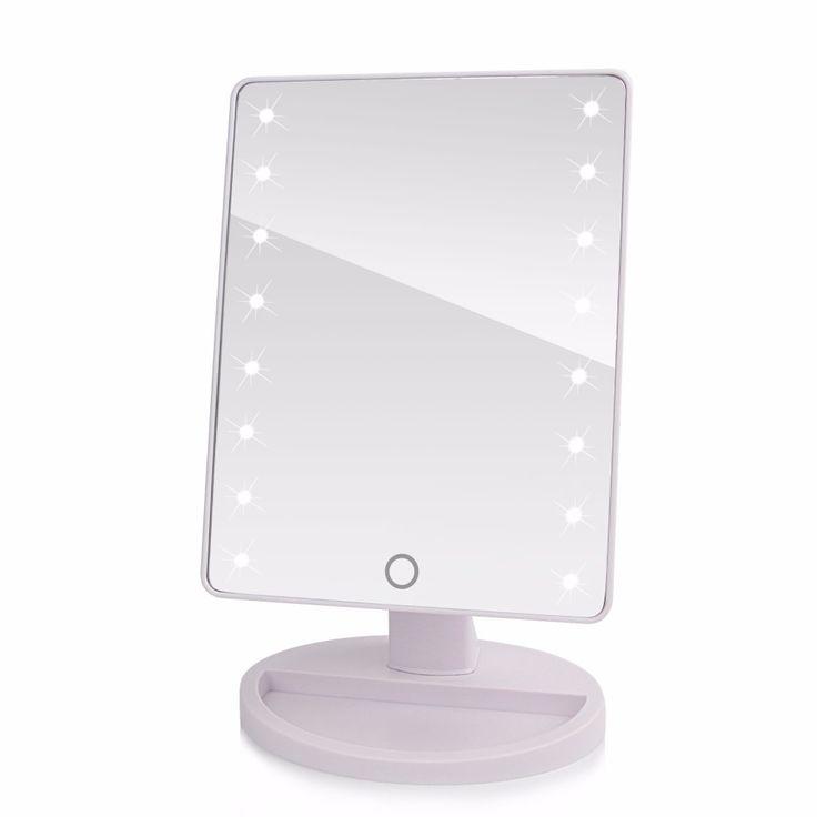 360 Grados de Rotación de Pantalla Táctil Compone el Espejo Cosmético Plegable Herramienta de Maquillaje Compacto de Bolsillo Portátil Con Luces LED