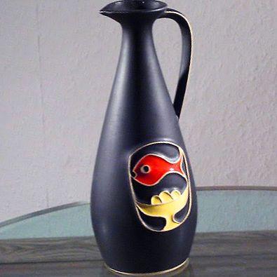Schwarze-50er-Jahre-Keramik-Blumen-Vase-schoenes-Dekor-vintage-amp-alt