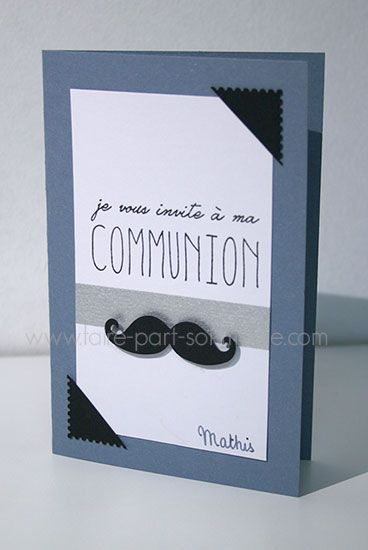 Faire-part invitation communion - Moustaches