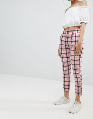 862b120f4f4c52 Bershka checked pants in pink check in 2019 | Wish list | Pants ...