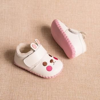 Baby and Toddler Girl's Lovely Rabbit Fleece-lined Leather Shoes
