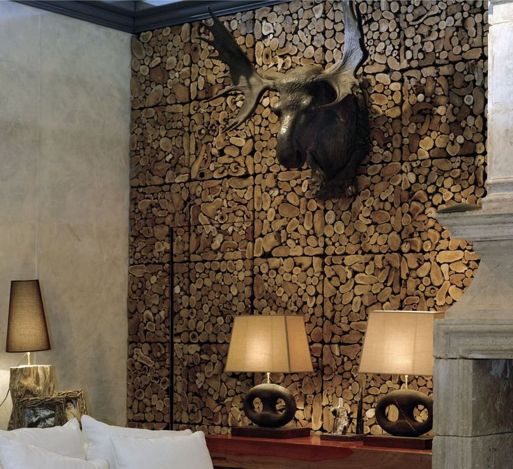 Remarkable Unique Wooden, Standing Timber Wall Paneling Ideas With Amazing  Moose Head Wall Decoration
