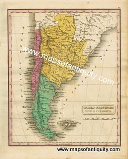 Antique-Map-United-Provinces-Chili-and-Patagonia. South America Chile and Argentina Maps of Antiquity
