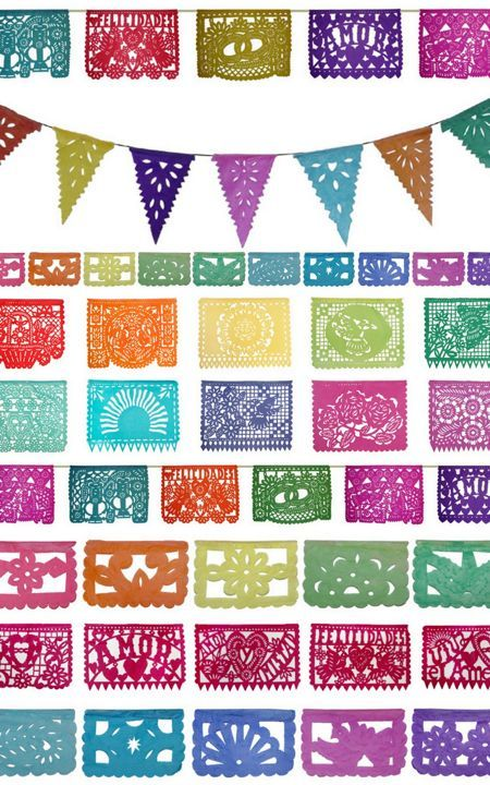 Papel Picado (mexican paper flags). I love these. I was at a wedding that was decorated with them!