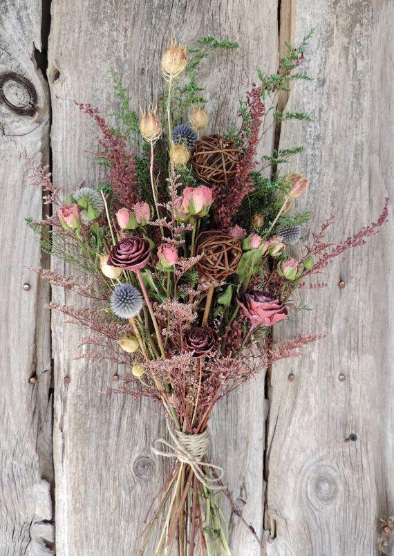 Dried Rose Flower Bouquet Floral Arrangement by VintagePolkaDotcom