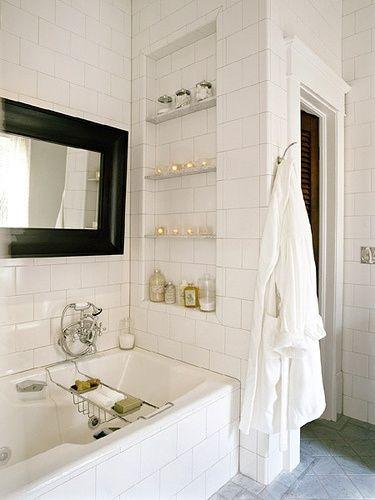 built in shower shelf in back of bath/shower #bathroom tiles, shower, vanity, mirror, faucets, sanitaryware, #interiordesign, mosaics, modern, jacuzzi, bathtub, tempered glass, washbasins, shower panels #decorating