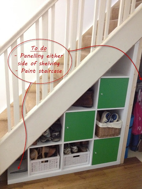 """Idea for under the stairs space. Even leaves a """"hidden"""" void behind."""
