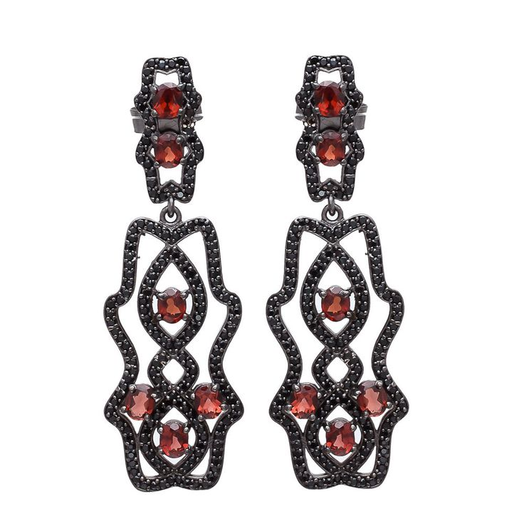 925 Sterling Silver Blood Red Garnet Gemstone Victorian Jewelry Fine Earring New #Handmade #Victorian #MothersDay