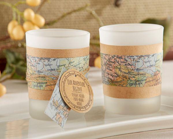 Our Adventure Begins Vintage Map Tealight Holder (Set of 4) (Kate Aspen 20167NA) | Buy at Wedding Favors Unlimited (http://www.weddingfavorsunlimited.com/our_adventure_begins_vintage_map_tealight_holder_set_of_4.html).