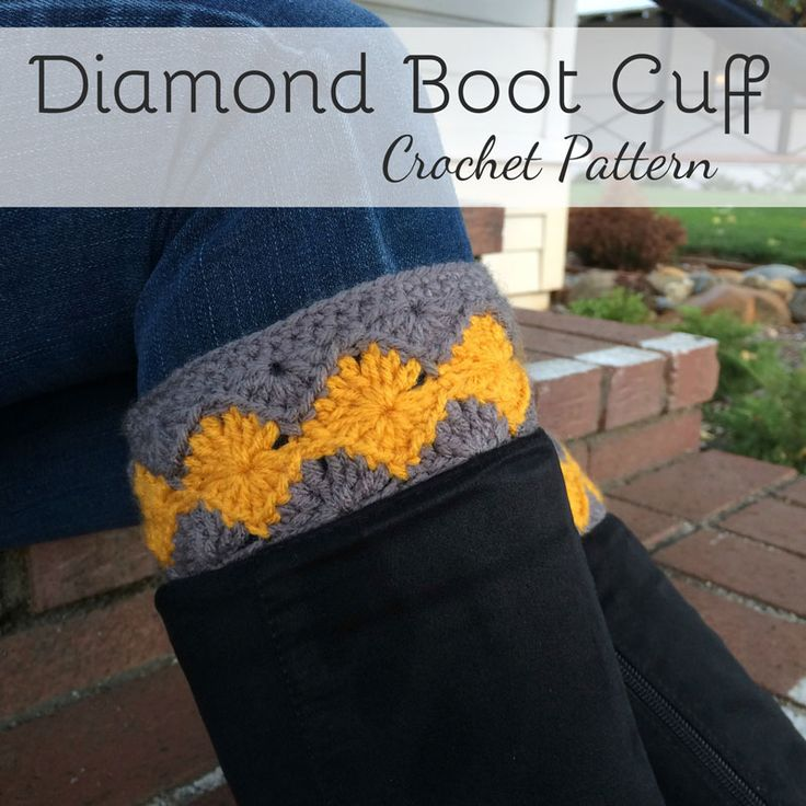 This cute free crochet boot cuff pattern features a gorgeous diamond design and is perfect for the upcoming Fall!