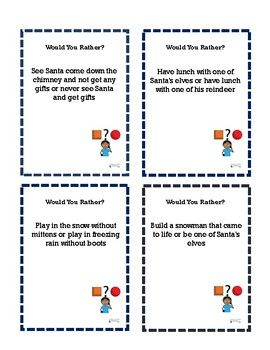 Social Thinking Executive Functioning >> Would You Rather Task Cards Winter To Stimulate Discussions