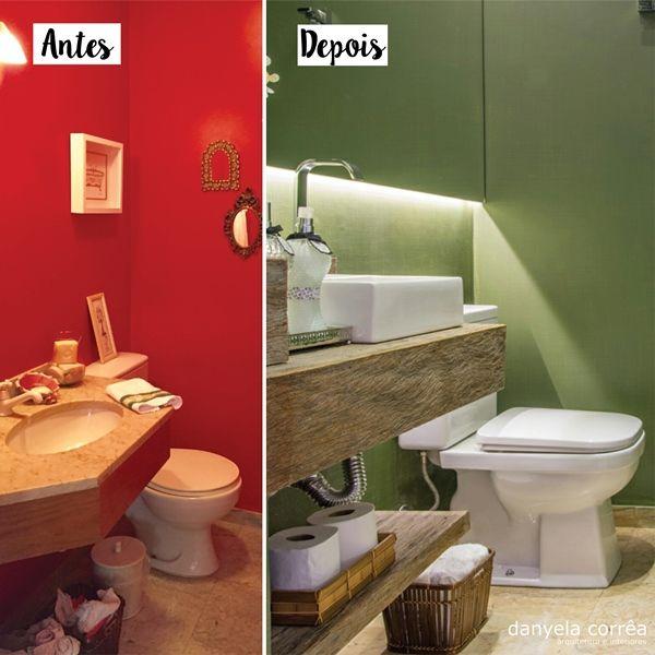 Antes e depois lavabo. Lavabo verde militar, bancada em madeira, cuba de apoio, piso de madeira. Lavabo decorado. Reforma e decoracao apto completo. Itaim Bibi Arquiteta Danyela Corrêa