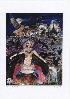 Kerridwin The Crone A4 Print by Caroline Lir