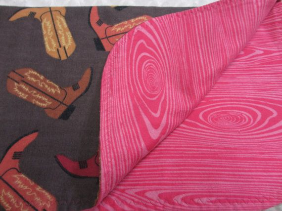 Cowgirl Boots Flannel Blanket and 2 Burp Cloths Wood Grain