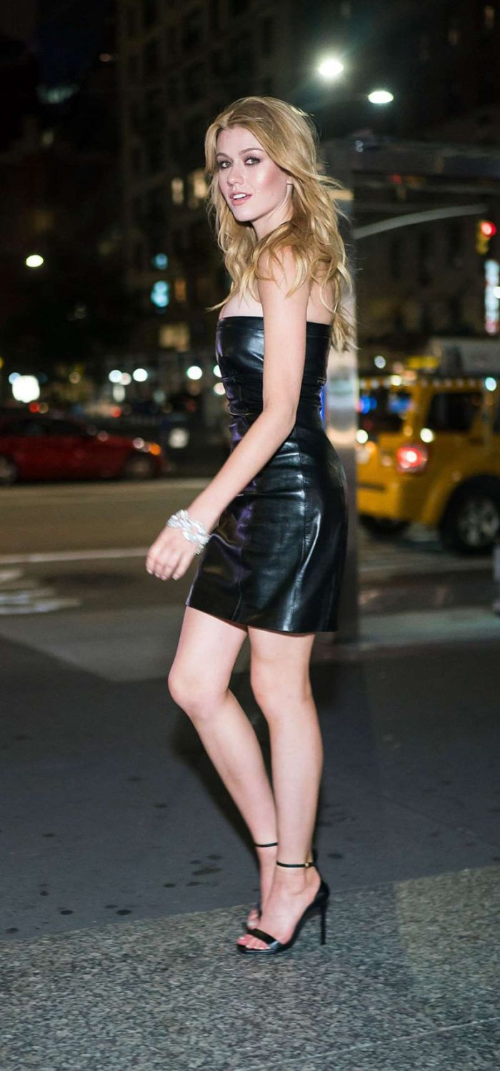 Katherine Mcnamara In Black Leather Dress Out In New York