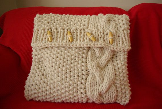 Knitted cream cushion cover