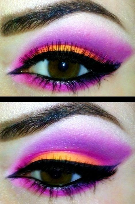 corrective makeup #1: for round eyes extend eye shadow beyond the outer corner of the eye