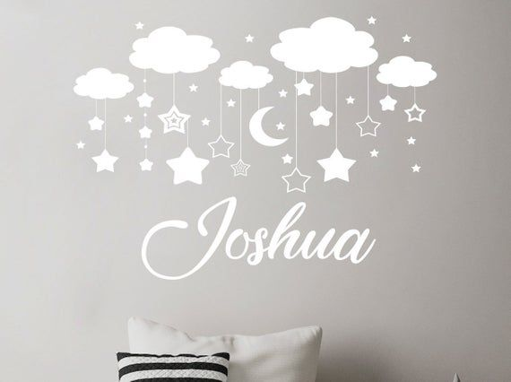 Nursery Wall Decal Rocket Vinyl Sticker Nursery Personalized Boy Name Wall Decal Removable Space Wall Art Children/'s Room