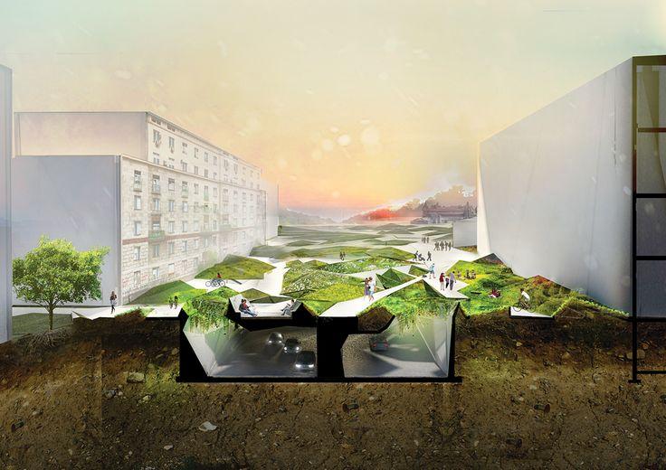 Marta Musial - parametric design parametric, render, visualisation, design, architecture, urban, landscape, Warsaw, greenery, section, bio, eco