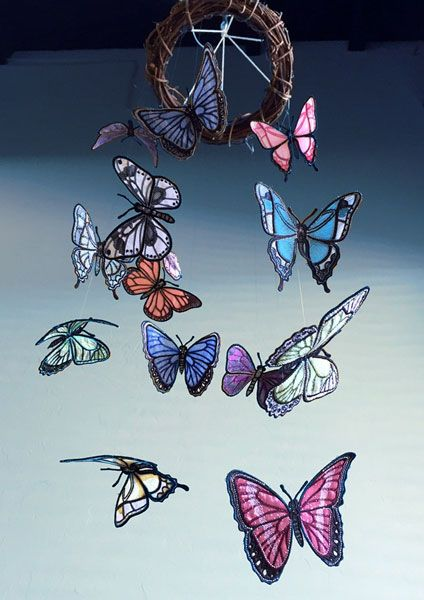 Mobile created with Freestanding Lace Butterflies #embroidery