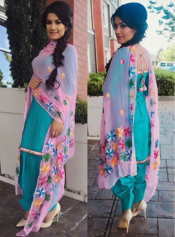 Pretty blue patiala shalwar kameez with floral duppata