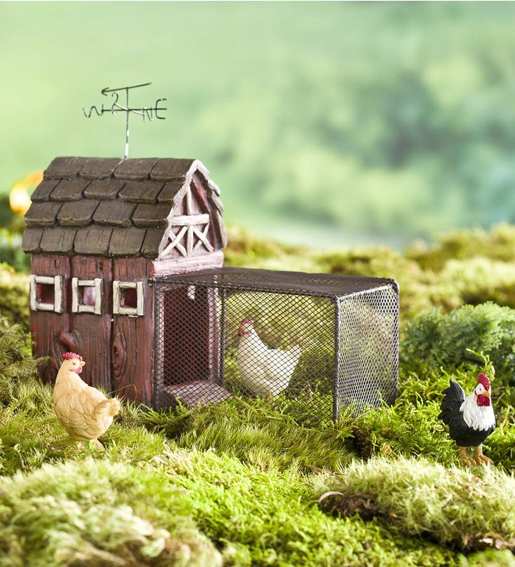 This Miniature Fairy Garden Chicken Coop has a hand-painted resin coop that is realistically detailed to resemble weathered wood. So adorable!