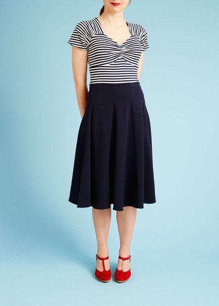 Nederdel med høj talje og vidde - mørkeblå - front