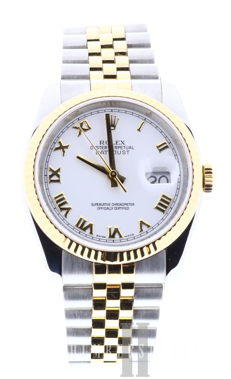 Rolex DateJust 116233. 18ct Yellow Gold & Stainless Steel, White Dial & Date, available to buy now, watches on finance or watch part exchange at Humberstones Jewellers.