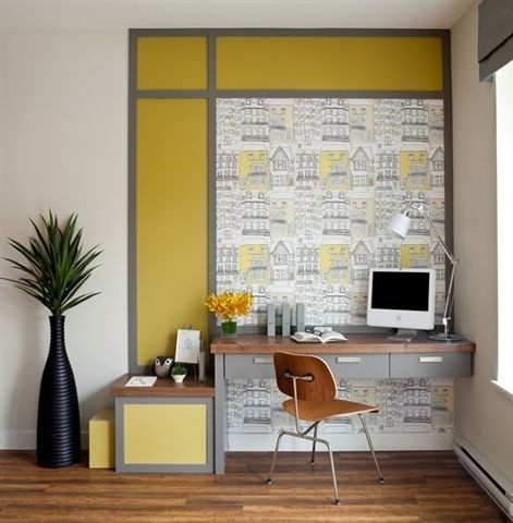 Love love love: Modern Home Offices, Work Stations, Small Offices Spaces, Home Offices Design, Photo, Gray Yellow, Inspiration Workspaces, Corner Workspaces, Modern Homes