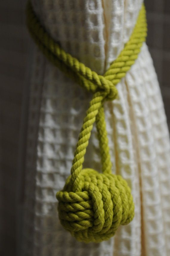 Lime Green Curtain Tie Back  this is for a pair of knots by OYKNOT