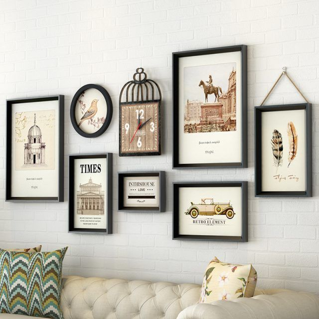 Living Room Decoration Picture Photo Frame Wall With Clock Photo Frame Wall Frames On Wall Wall Clock With Pictures