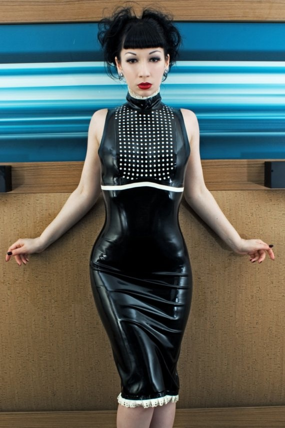 Black Latex Rubber Dress With Laser Cut Micro Dots