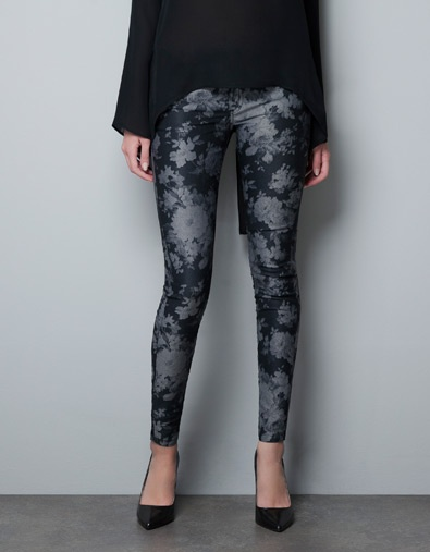 OVERDYED FLORAL PRINT 5 POCKET TROUSERS WITH ZIPS - $79.95