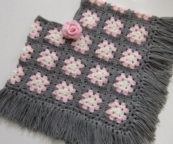 GIRLS GRANNY SQUARE PONCHO Size 3 to 6 van lastrose op Etsy