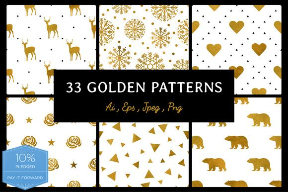 33 Golden patterns by Alla_Ri_Shop on @creativemarket